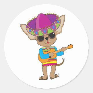 Chihuahua Guitar Classic Round Sticker