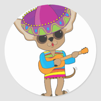 Chihuahua Guitar Round Sticker