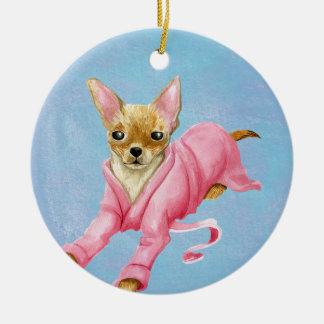 Chihuahua in a Bathrobe Dog Ornament