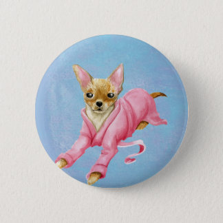 Chihuahua in a Bathrobe Dog Round Button