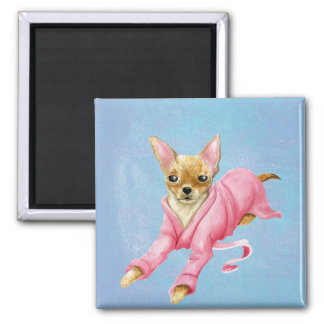 Chihuahua in a Bathrobe Dog Square Fridge Magnet