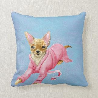 Chihuahua in a Bathrobe Dog Throw Pillow