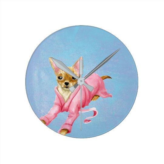 Chihuahua in a Bathrobe Dog Wall Clock