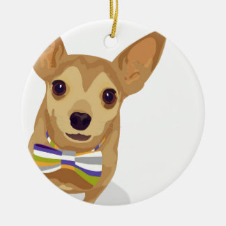 Chihuahua in a bowtie on white background christmas ornament