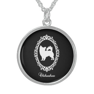 Chihuahua in mirror sterling silver necklace