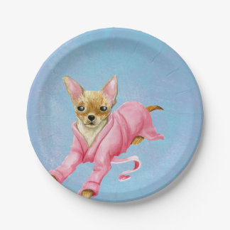 Chihuahua in Pink Bathrobe Paper Party Plates