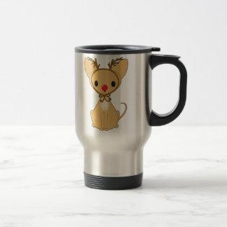Chihuahua in Rudolf Costume Travel Mug