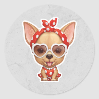 Chihuahua in the Guise of a Retro Beauty Round Sticker