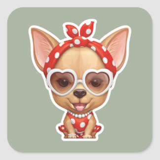 Chihuahua in the Guise of a Retro Beauty Square Sticker