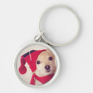 Chihuahua In Winter Cap Key Ring