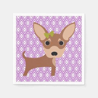 Chihuahua Lavender and White Diamond Napkins Paper Serviettes