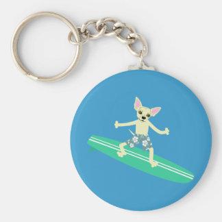 Chihuahua Longboard Surfer Key Ring