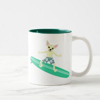 Chihuahua Longboard Surfer Mugs