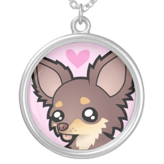 Chihuahua Love (long coat) Silver Plated Necklace