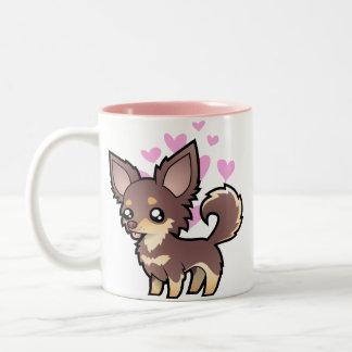 Chihuahua Love (long coat) Two-Tone Coffee Mug