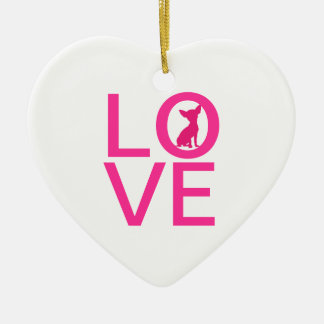 Chihuahua love pink dog cute heart ornament, gift christmas ornament