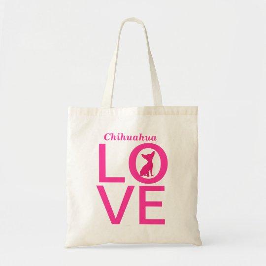 Chihuahua love pink dog cute tote bag, gift