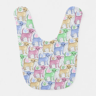 Chihuahua Lover Colorful Pattern Bibs