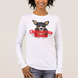 Chihuahua Mama Cute Black Tan Long Sleeve T-Shirt