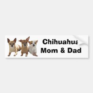 Chihuahua Mom & Dad Bumper Sticker Car Bumper Sticker