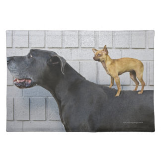 Chihuahua on Great Dane's back Place Mat