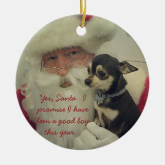 Chihuahua on Santa's Lap Christmas Ornament