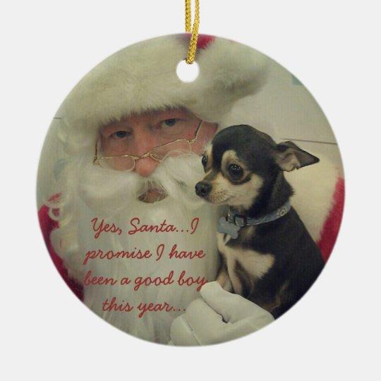 Chihuahua on Santa's Lap Christmas Ornament