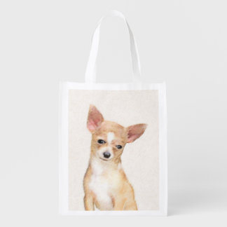 Chihuahua Painting - Cute Original Dog Art Reusable Grocery Bag