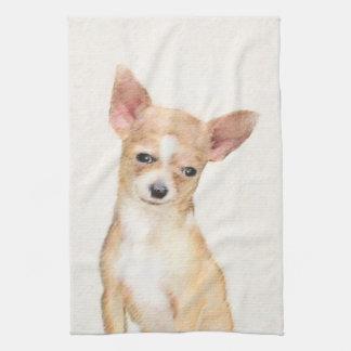 Chihuahua Painting - Cute Original Dog Art Tea Towel