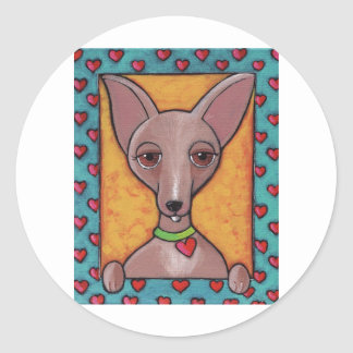 Chihuahua Painting Round Sticker