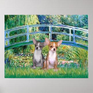 Chihuahua Pair - Lily Pond Bridge Poster