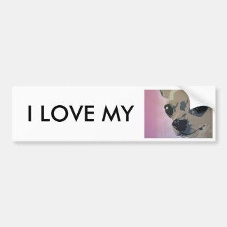 chihuahua pink, I LOVE MY bumper sticker
