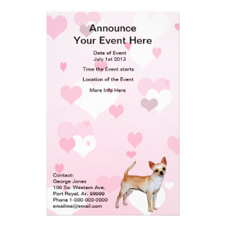 Chihuahua Pink & White Hearts 14 Cm X 21.5 Cm Flyer