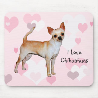 Chihuahua Pink & White Hearts Mouse Mat