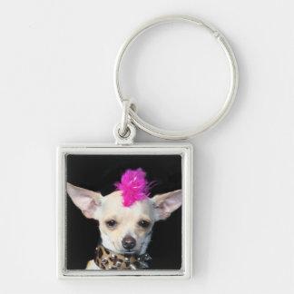 Chihuahua Punk dog Silver-Colored Square Key Ring