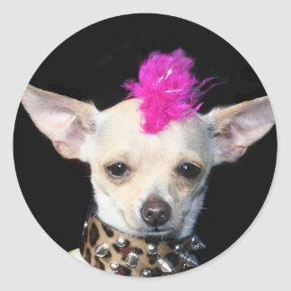 Chihuahua Punk Round Sticker