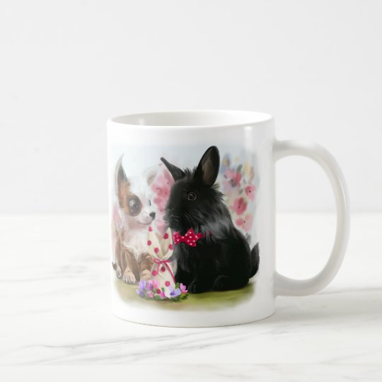 Chihuahua puppy and black rabbit coffee mug