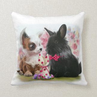 Chihuahua puppy and black rabbit cushion