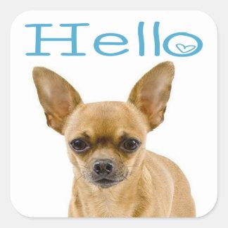 Chihuahua Puppy Dog Blue Hello Heart Square Sticker