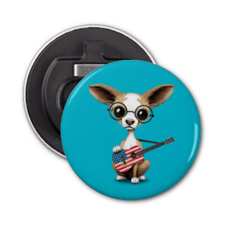 Chihuahua Puppy Dog Playing American Flag Guitar