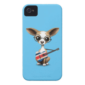 Chihuahua Puppy Dog Playing Costa Rica Flag Guitar iPhone 4 Case-Mate Case