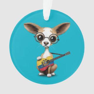Chihuahua Puppy Dog Playing Ecuadorian Flag Guitar