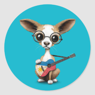 Chihuahua Puppy Dog Playing Filipino Flag Guitar Classic Round Sticker