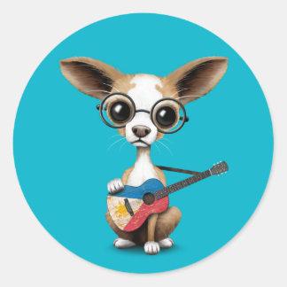 Chihuahua Puppy Dog Playing Filipino Flag Guitar Round Stickers
