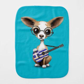 Chihuahua Puppy Dog Playing Greek Flag Guitar Burp Cloth