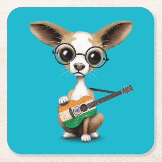 Chihuahua Puppy Dog Playing Indian Flag Guitar Square Paper Coaster