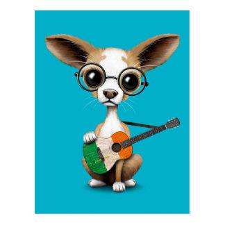 Chihuahua Puppy Dog Playing Irish Flag Guitar Postcard