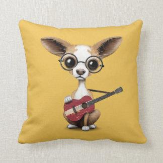 Chihuahua Puppy Dog Playing Latvian Flag Guitar Cushion