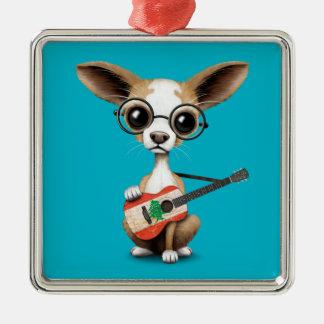 Chihuahua Puppy Dog Playing Lebanese Flag Guitar Christmas Ornament