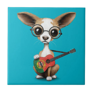 Chihuahua Puppy Dog Playing Portuguese Flag Guitar Small Square Tile